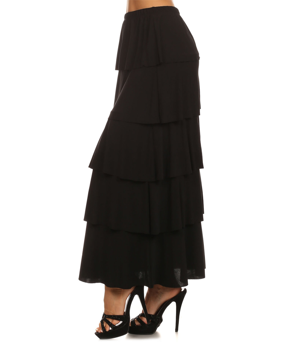 black tiered ruffle maxi skirt zulily