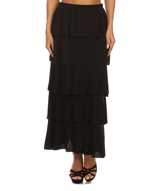 black tiered ruffle maxi skirt zulily