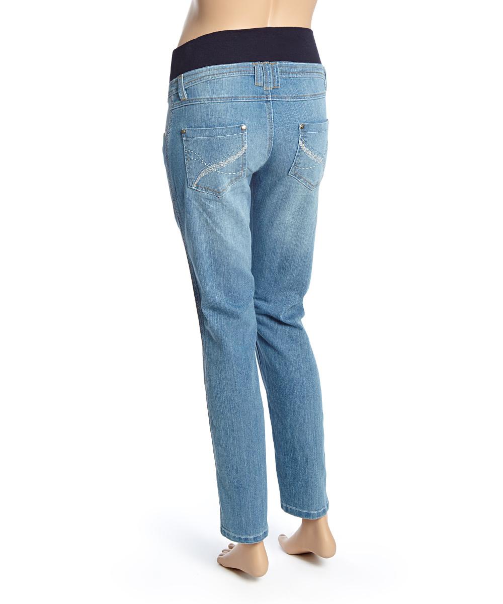oh mamma light wash banded under belly maternity jeans. Black Bedroom Furniture Sets. Home Design Ideas