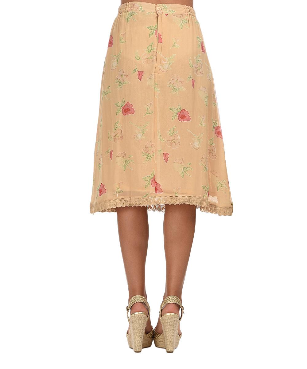 york beige floral a line skirt zulily