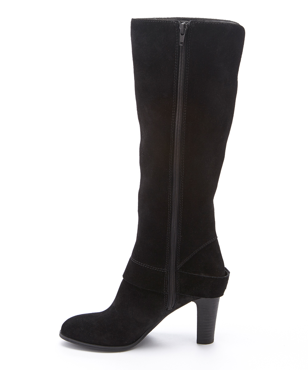 nine west black niston wide calf suede boot zulily