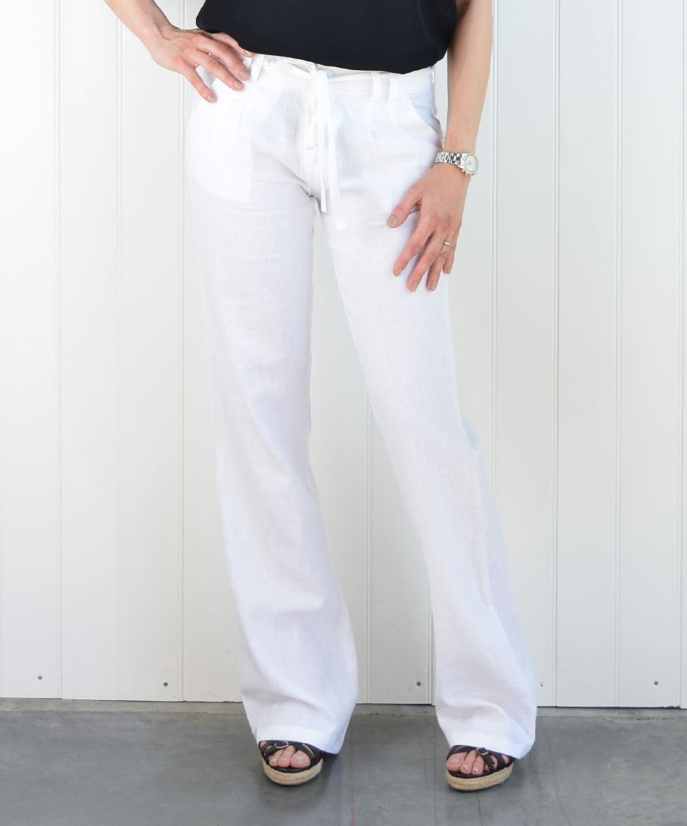Awesome Boom Boom Jeans White LinenBlend Bootcut Pants  Women  Zulily