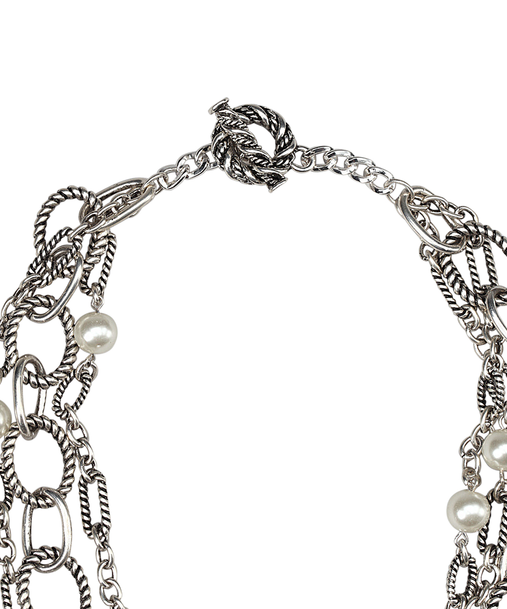 embassy jewels silver pearl layered chain necklace zulily