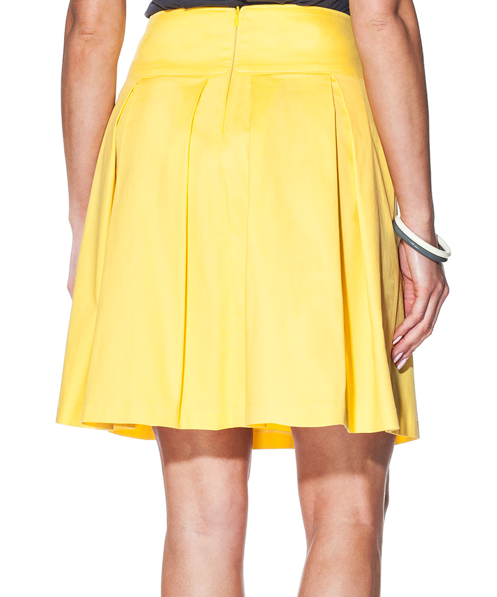giancarlo bassi yellow high waist pleated skirt zulily