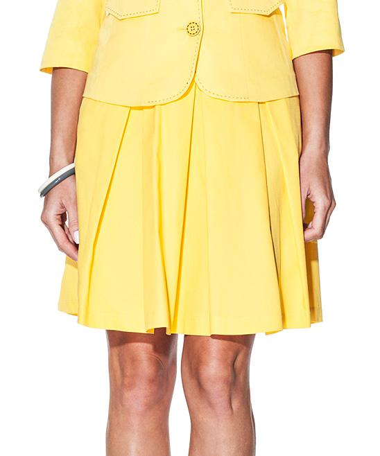 giancarlo bassi yellow high waist pleated skirt zulily