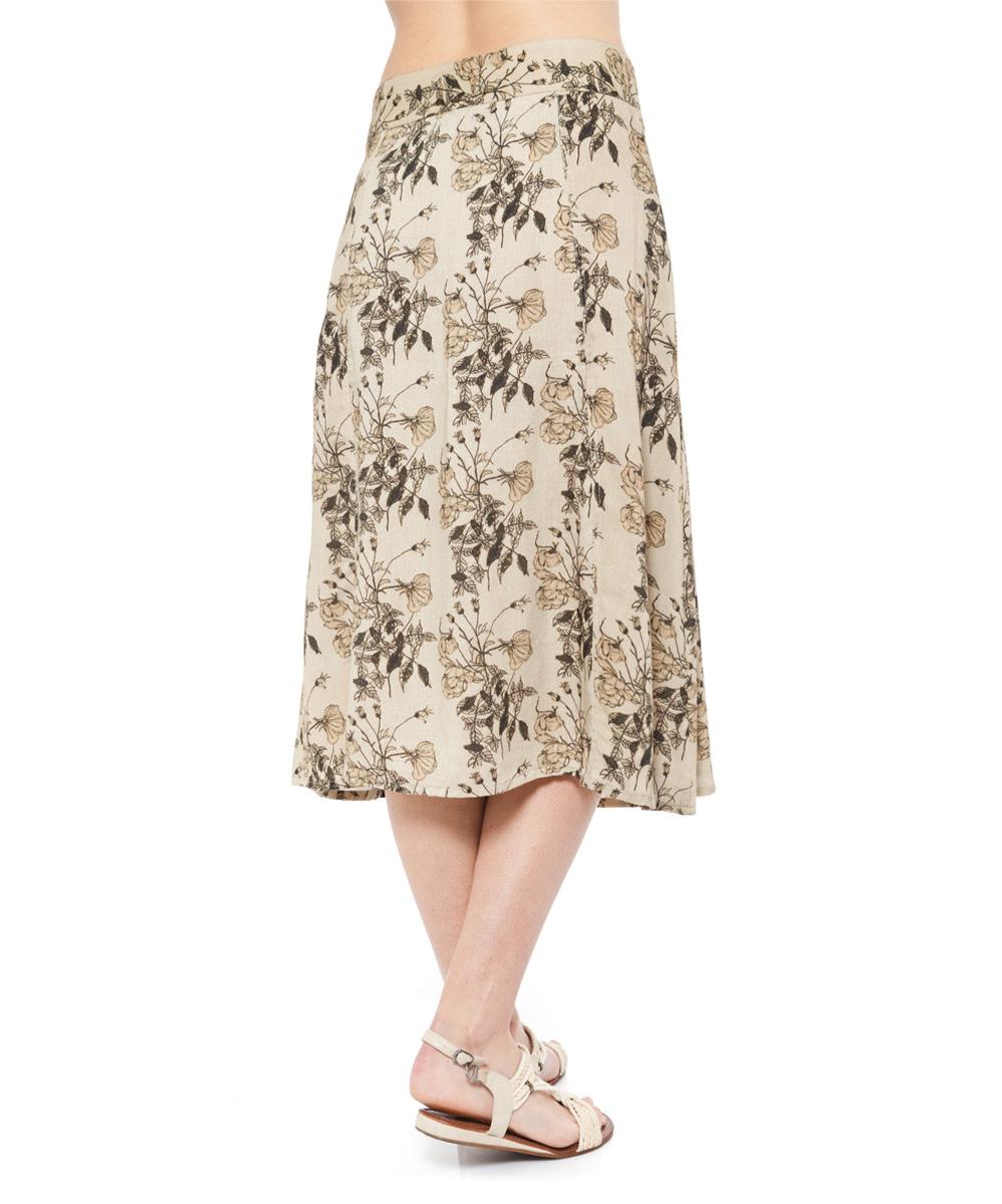 marani singh beige black floral midi skirt zulily