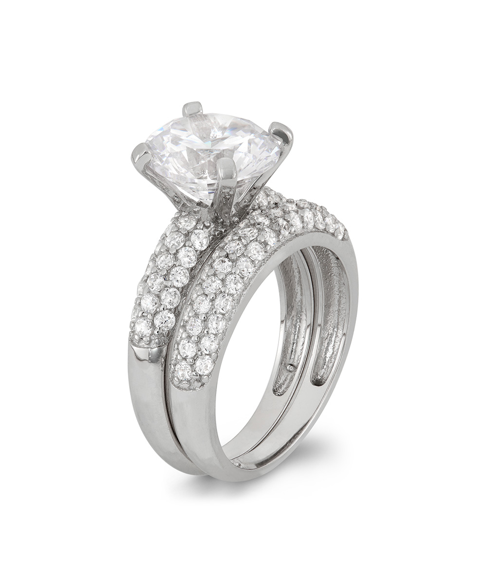 cubic zirconia sterling silver pave set