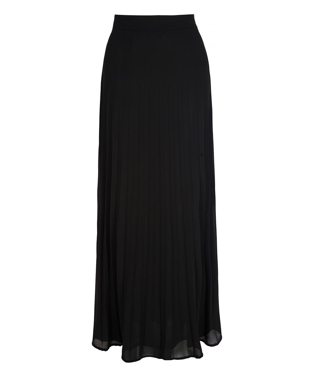 iska black pleated maxi skirt zulily
