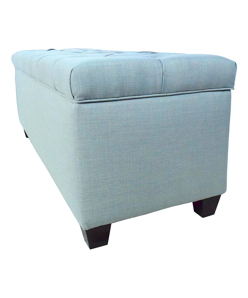 The Sole Secret Blue Button Tufted Shoe Storage Bench Zulily