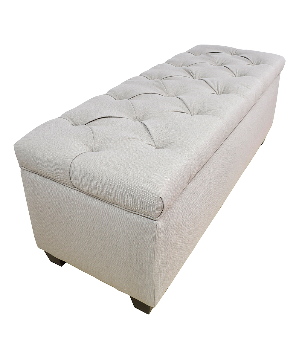 White Button Tufted Shoe Storage Bench