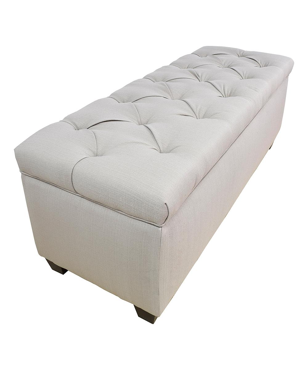 White Button Tufted Shoe Storage Bench