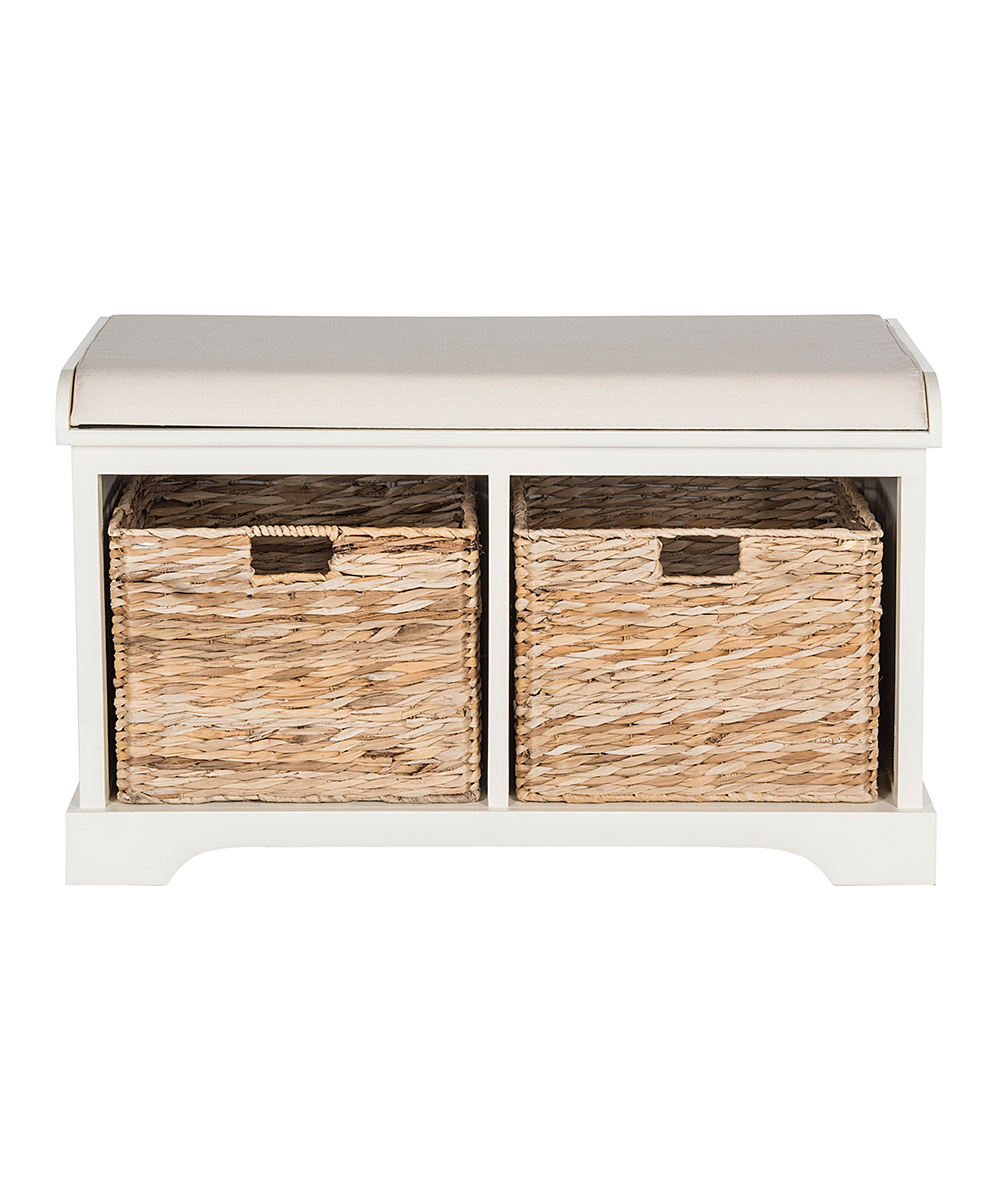 Distressed White Pine Kelsey Storage Bench Zulily