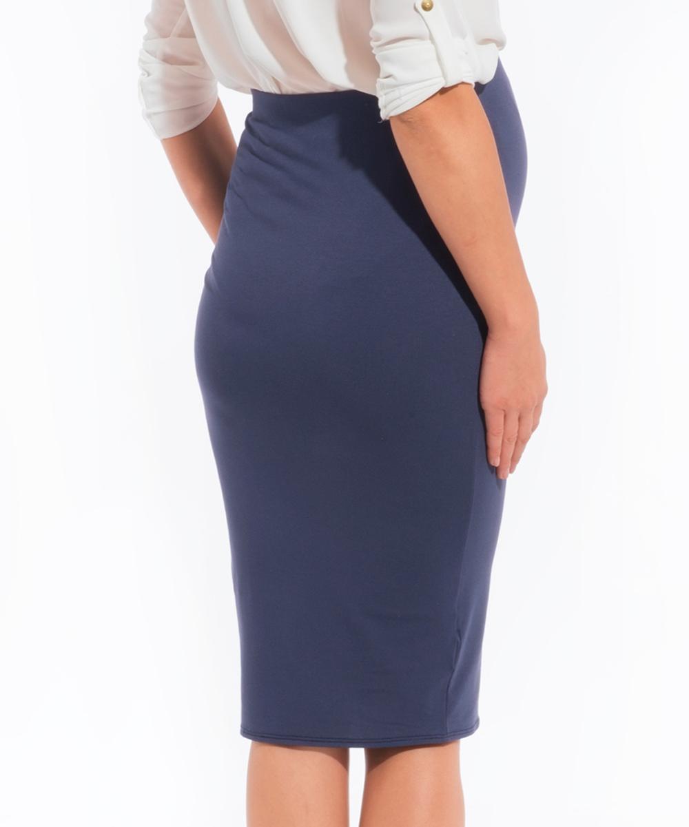 envie de fraises navy blue maternity pencil skirt