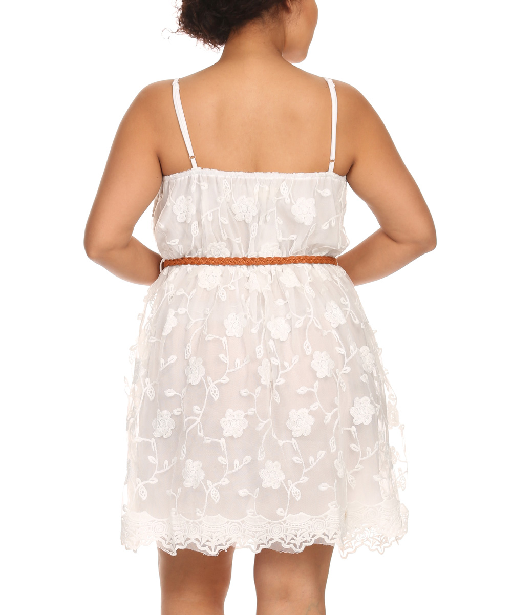 c o c white lace belted dress plus zulily