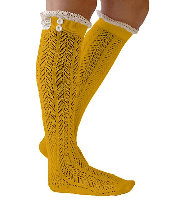 Crochet Knee High Socks : Boutique Socks Mustard Crochet-Lace Knee-High Socks zulily