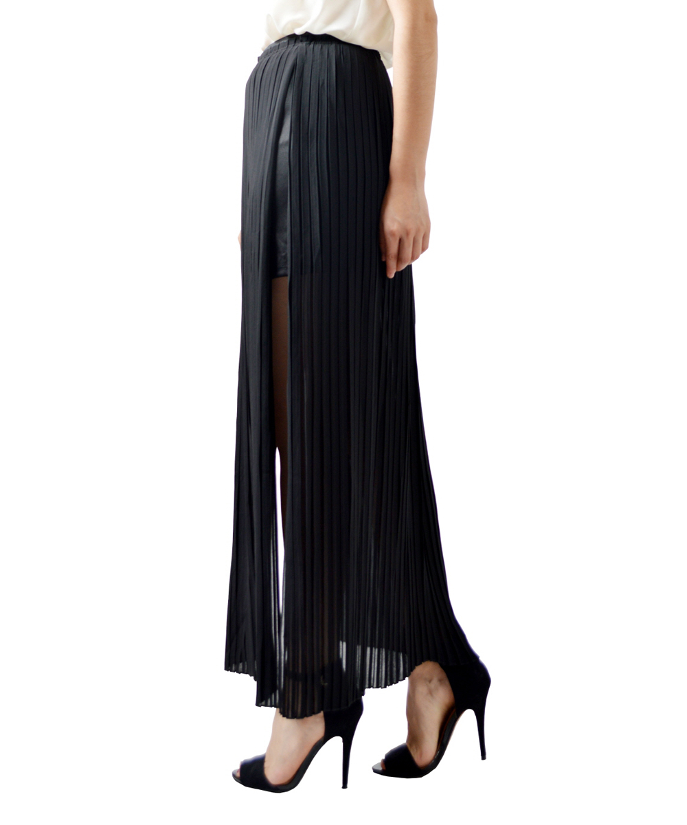 potters pot black pleated side slit maxi skirt zulily