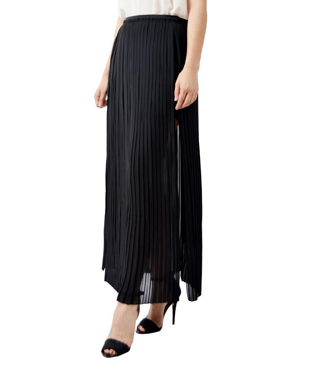 potters pot black pleated side slit maxi skirt zulily