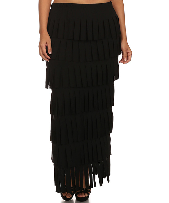 black fringe tier maxi skirt plus zulily