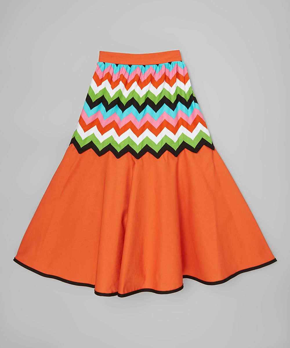 miss fashion orange chevron maxi skirt infant