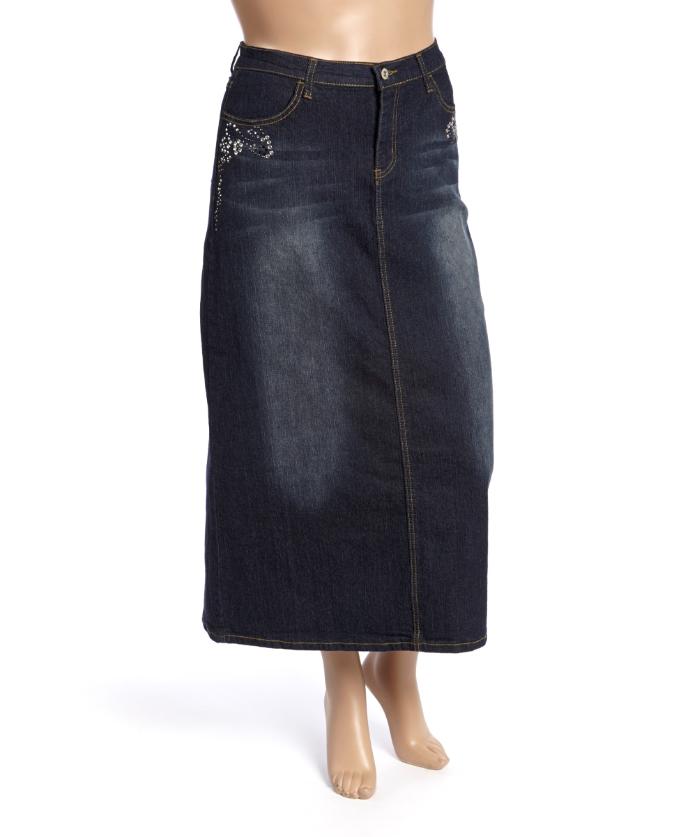 be clothing black wash denim maxi skirt plus zulily