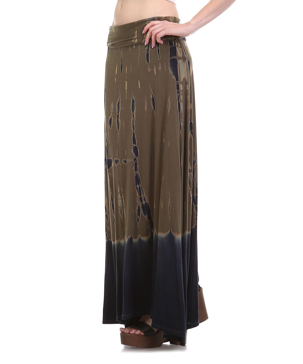 mono b olive tie dye maxi skirt zulily