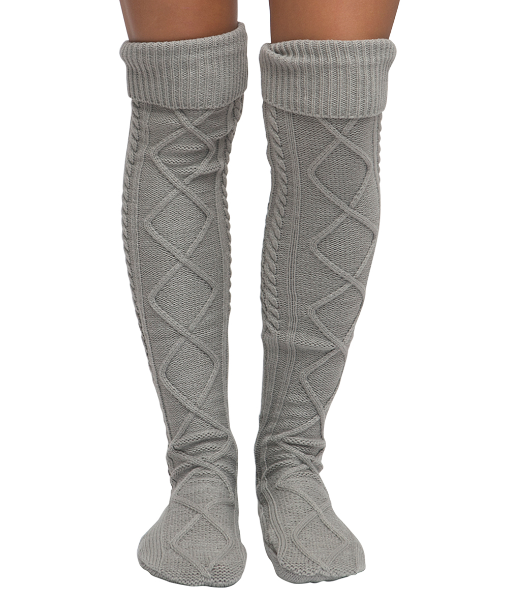 Knitting Pattern For Over The Knee Socks : CoziBear Boutique Gray Cable-Knit Over-the-Knee Socks zulily