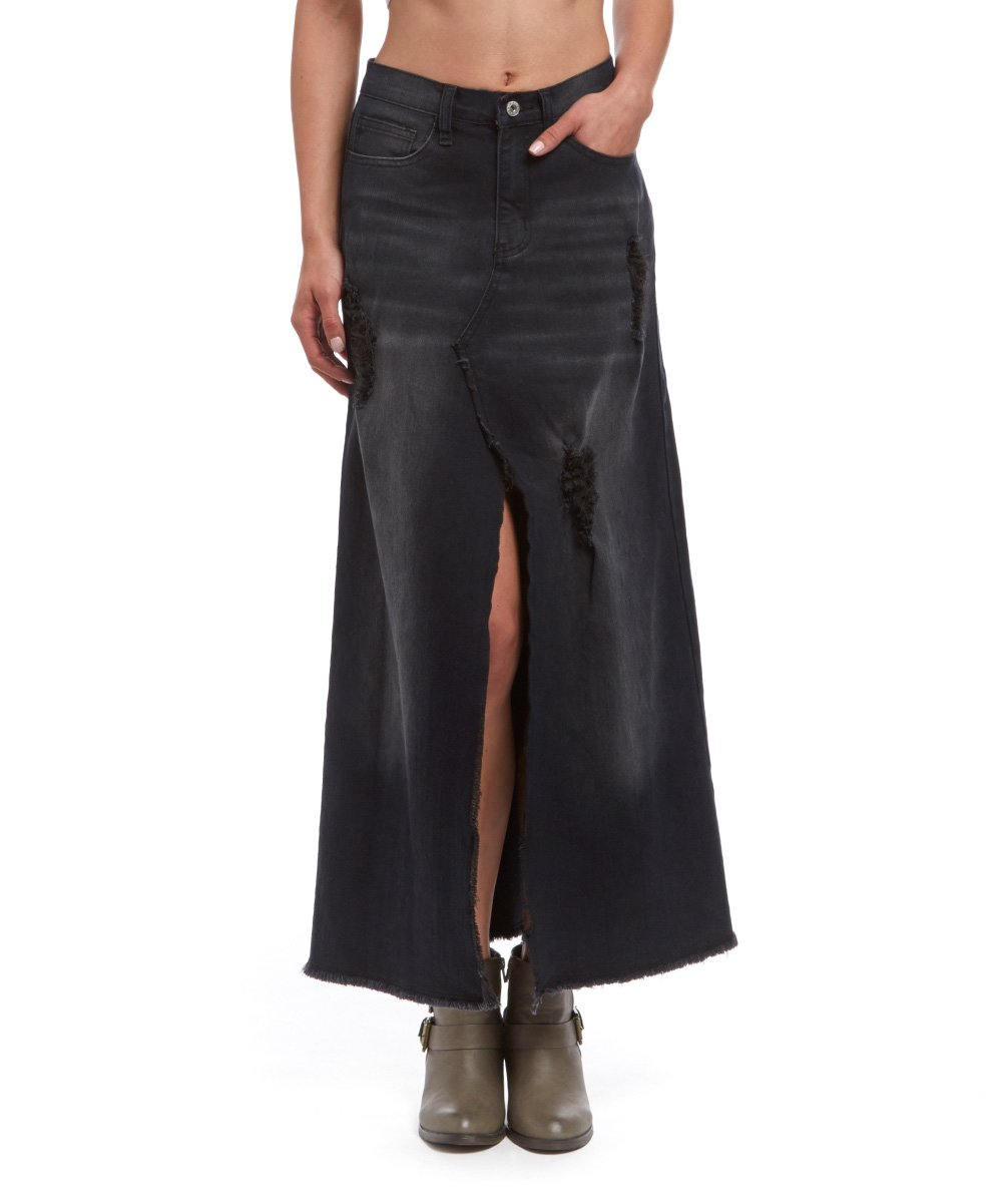 black distressed denim slit maxi skirt