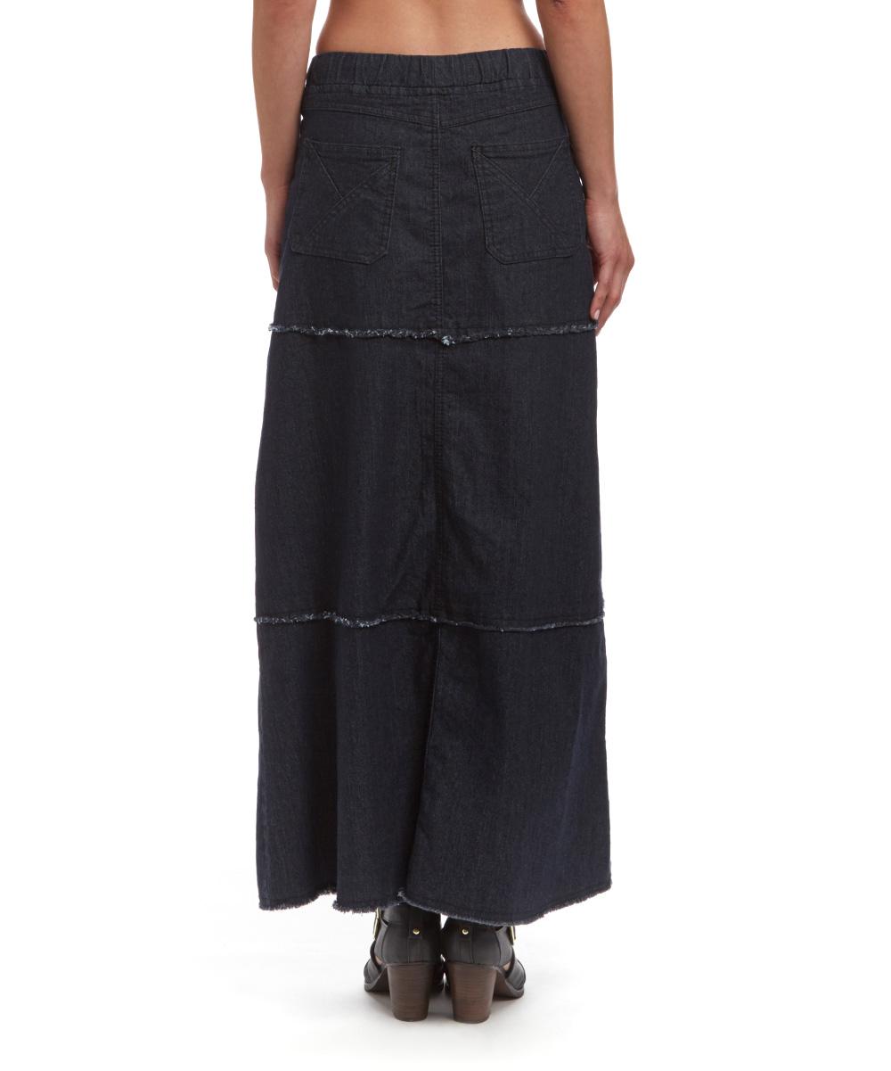 be black tiered denim maxi skirt zulily