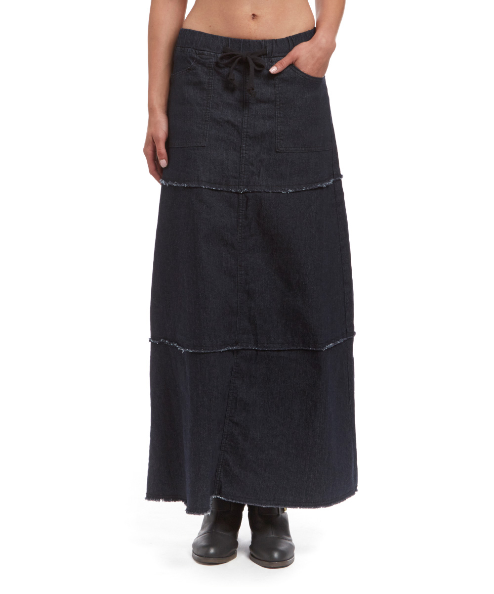 be black tiered denim maxi skirt zulily