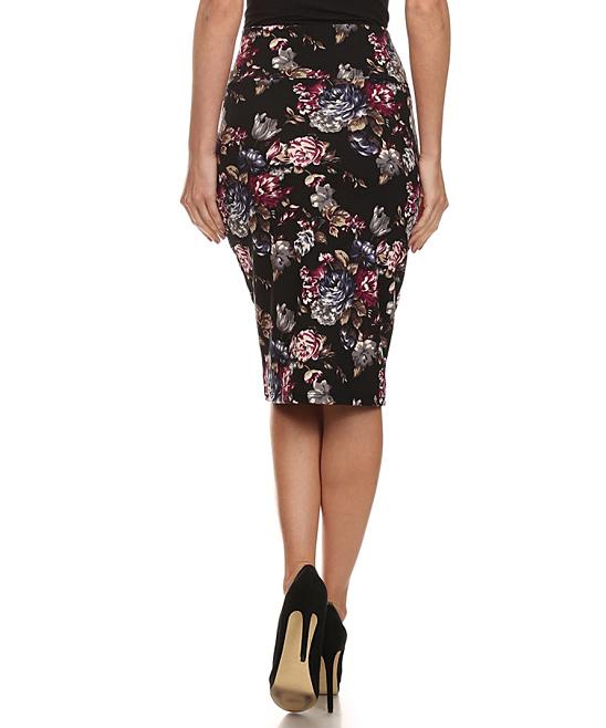 bellaberry usa black floral pencil skirt zulily