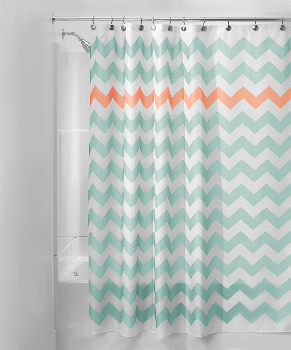 Turquoise Coral Chevron Shower Curtain Zulily