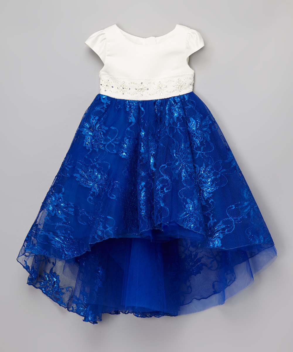 Royal Blue High Low Lace Dress for Kids
