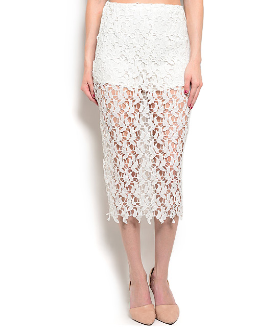ivory sheer lace midi pencil skirt zulily