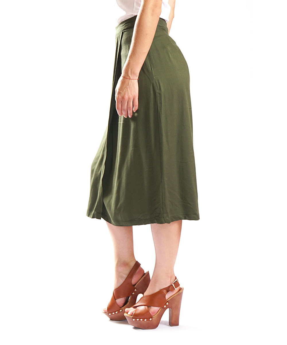 amerikan basics olive green midi skirt zulily