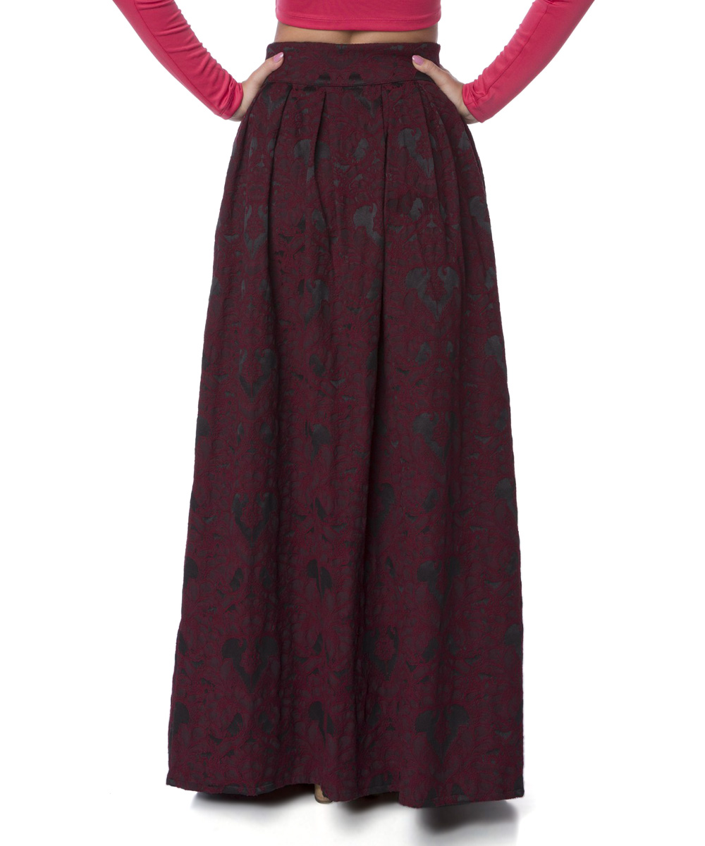 fx missony burgundy floral button up maxi skirt zulily
