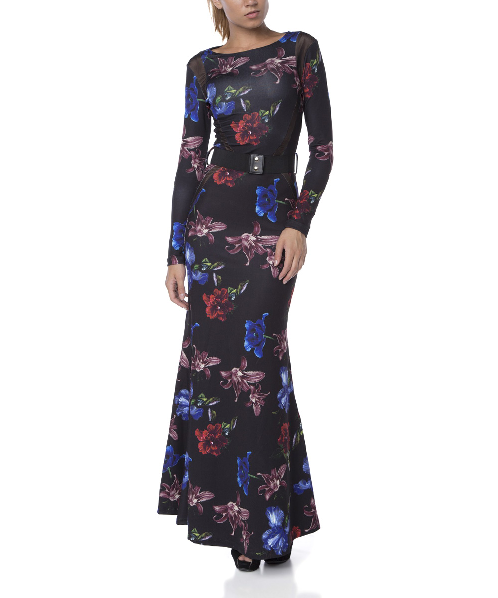 fx missony black floral belted maxi dress zulily