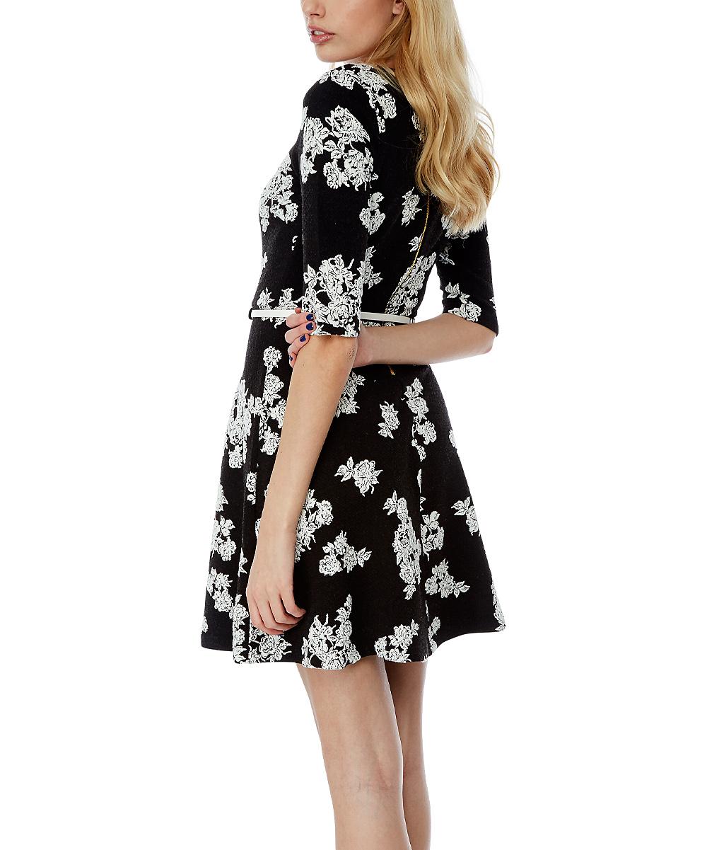 yumi black floral skater dress belt zulily