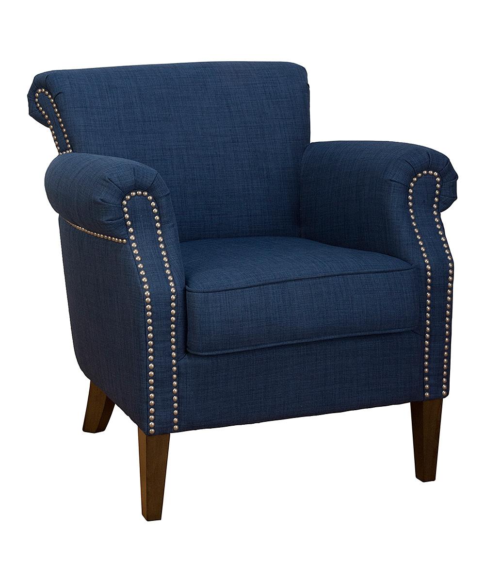Blue Nailhead Trim Accent Chair