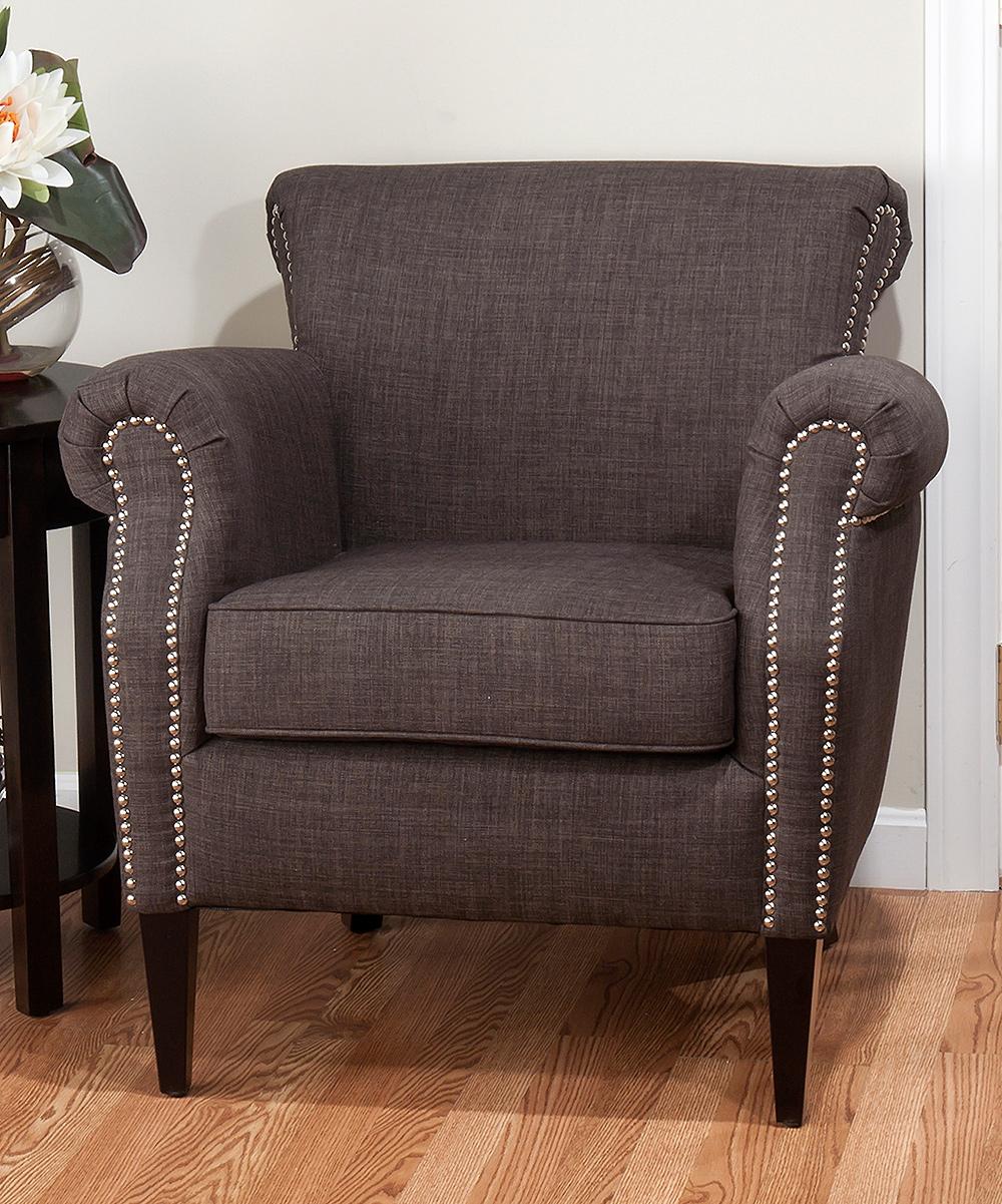 Gray Nailhead Trim Accent Chair