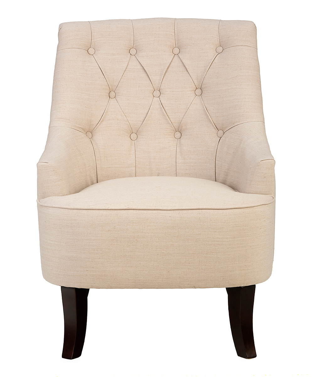 Cream button tufted accent chair zulily Tufted accent chair