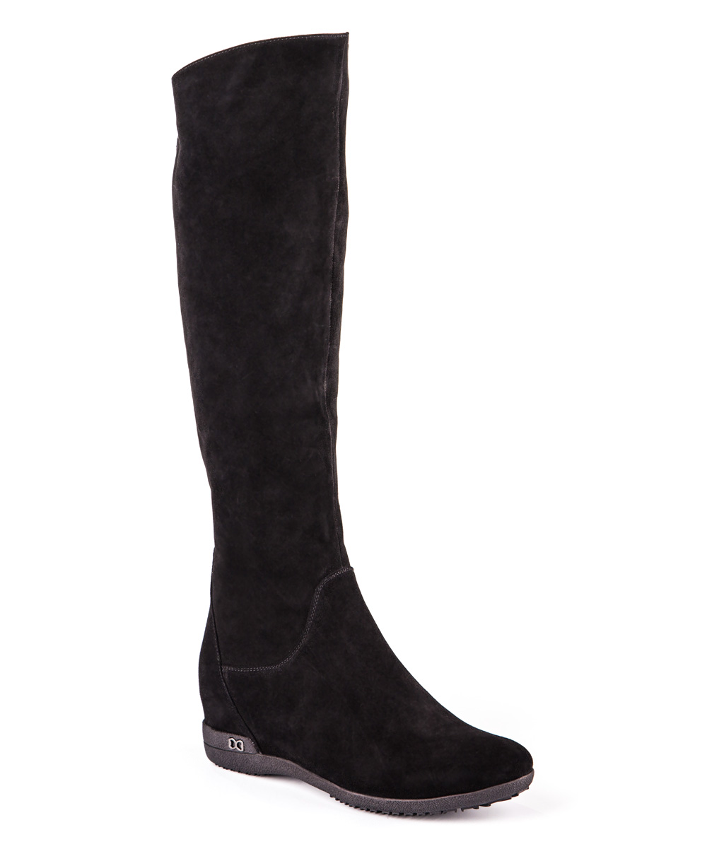black rosey suede wedge boot