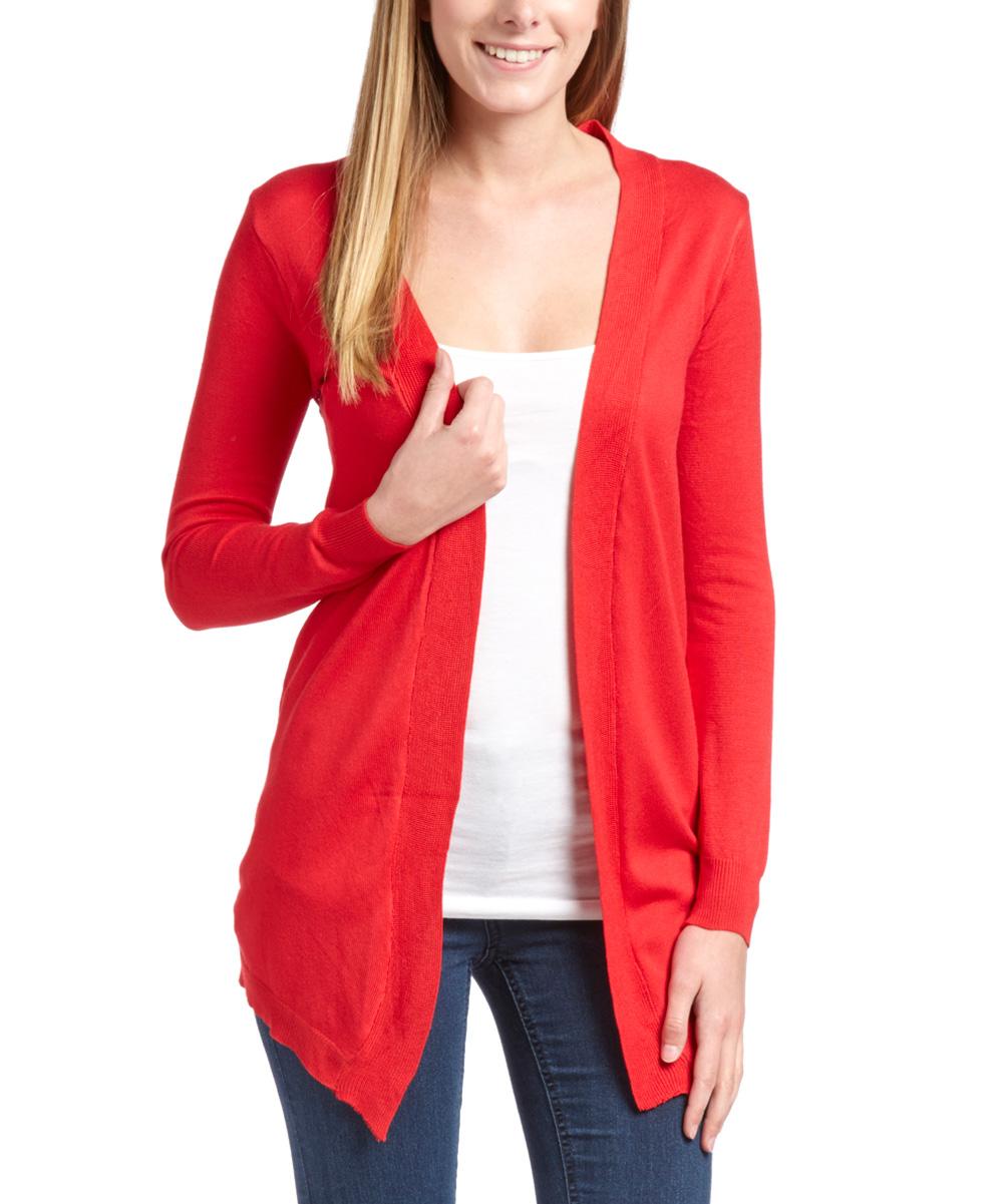 Red Sequin Cardigan - Aztec Sweater Dress