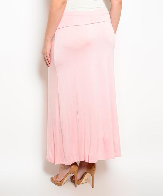 curvy light pink maxi skirt plus zulily