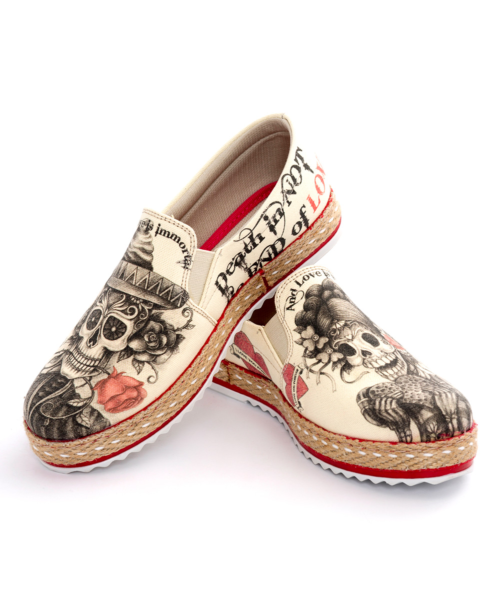 Beige Sugar Skull Slip-On Shoe