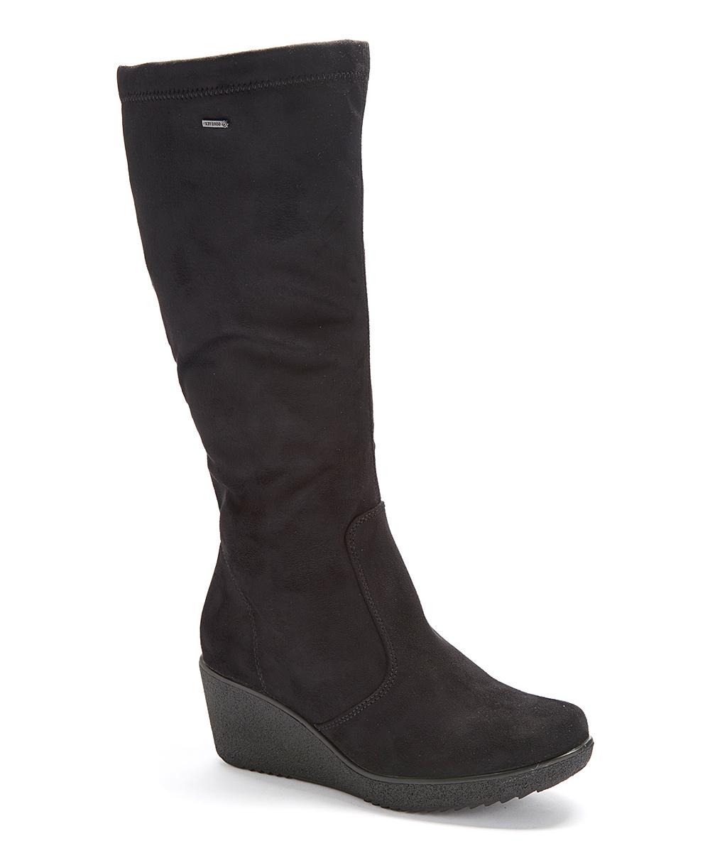 ara black suede stretch velia waterproof wedge boot zulily