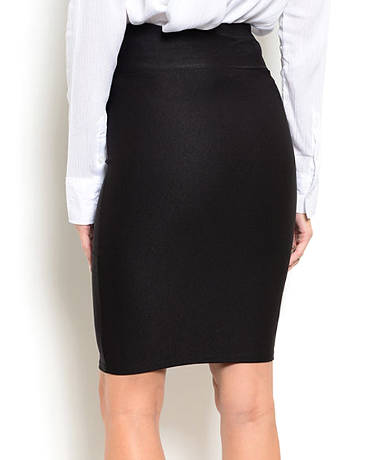 forever black tiered waist pencil skirt zulily