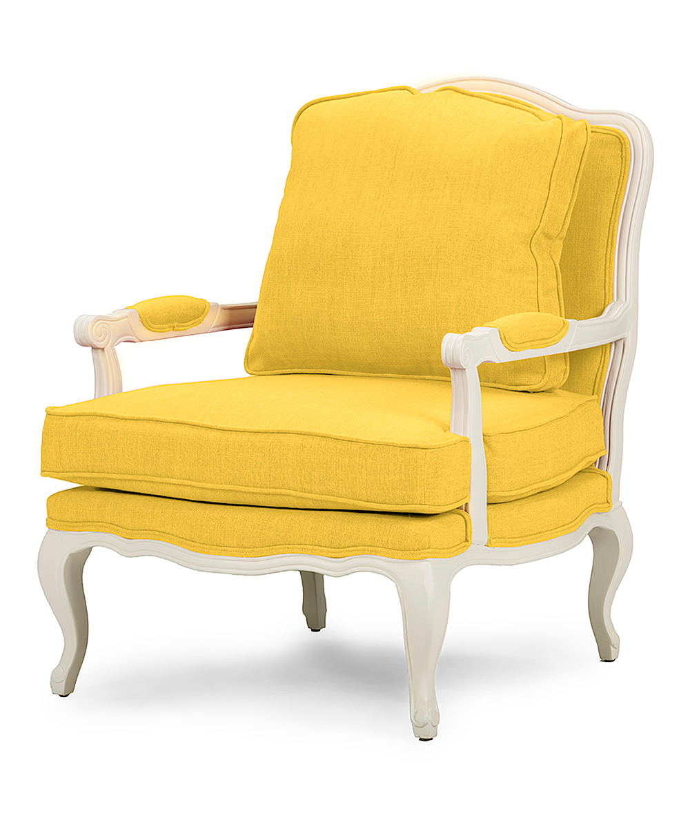 yellow fabric french accent chair