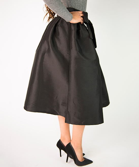 cents of style black bow pleated midi skirt zulily