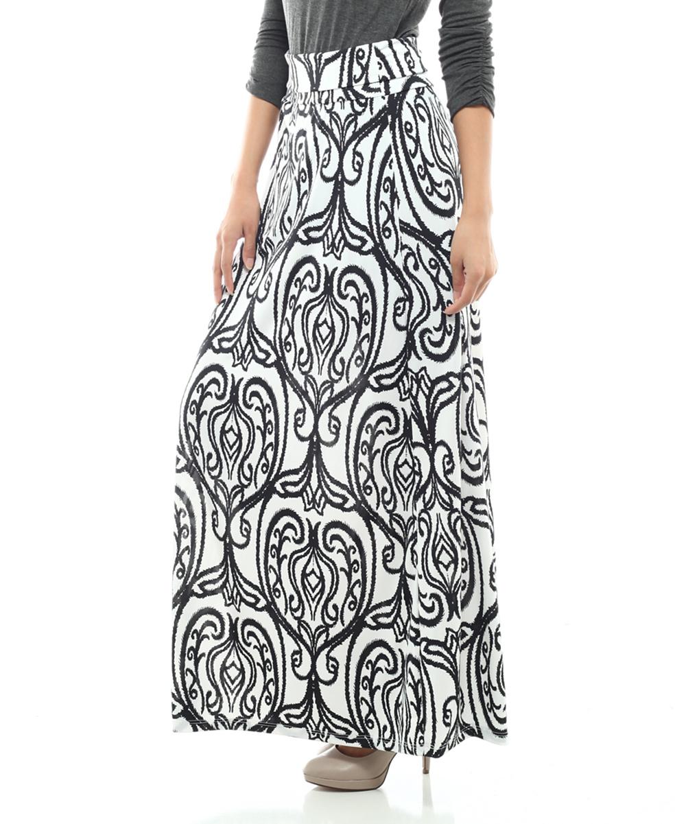 bold beautiful white scarf print maxi skirt zulily