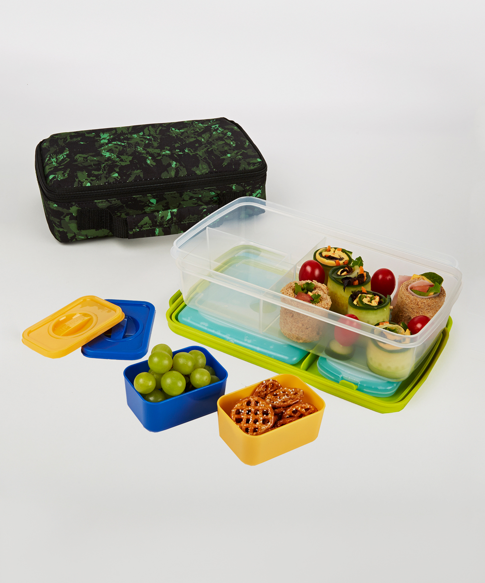fit fresh green jungle bento lunch box insulated carrier set zulily. Black Bedroom Furniture Sets. Home Design Ideas